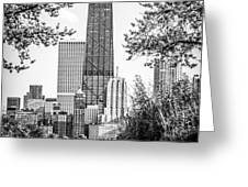 Hancock Building Through Trees Black and White Photo Greeting Card by Paul Velgos