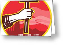Hand Holding Hammer Factory Retro Greeting Card by Aloysius Patrimonio