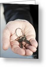 Hand Offering New Keys Greeting Card by Elena Elisseeva