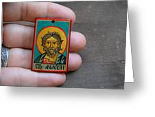 Hand Painted Miniature Icon Of Saint Andrew The Apostle Greeting Card by Denise ClemencoIcons