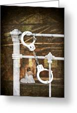 Handcuffs On Bed Greeting Card by Amanda Elwell