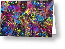 Hands Of Colour Greeting Card by Tim Gainey
