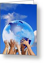 Hands Touching A Globe Greeting Card by Don Hammond