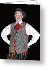 Handsome Clown At The Circus Greeting Card by Susan Leggett