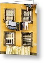 Hanging Clothes Of Old World Europe Greeting Card by David Letts