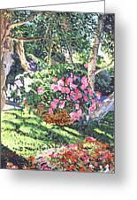 Hanging Flower Basket Greeting Card by David Lloyd Glover