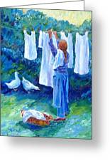 Hanging The Whites  Greeting Card by Trudi Doyle