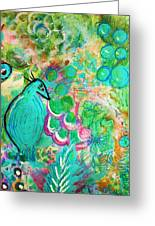 Happy Bird In Aqua Greeting Card by Anne-Elizabeth Whiteway