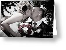 Happy Bride And Groom Kissing Greeting Card by Michal Bednarek