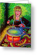 Happy Drummer Greeting Card by Viktor Lazarev