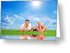 Happy Family Together On Grass Greeting Card by Michal Bednarek