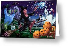 Happy Halloween Witch With Graveyard Friends Greeting Card by Martin Davey