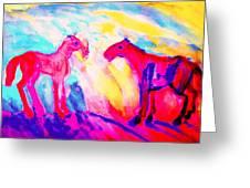 Happy Hulders Horses  Greeting Card by Hilde Widerberg