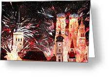 Happy New Year - With Fireworks In Munich Greeting Card by M Bleichner
