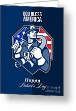 Happy Patriots Day God Bless America Retro Greeting Card by Aloysius Patrimonio