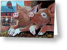 Happy Pigs Greeting Card by Dona Davis