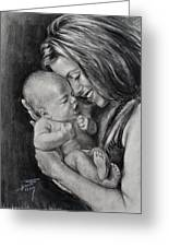 Happy Young Mother Greeting Card by Ylli Haruni