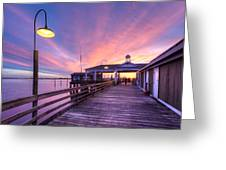 Harbor Lights Greeting Card by Debra and Dave Vanderlaan