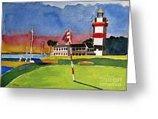 Harbor Town 18th Sc Greeting Card by Lesley Giles