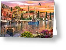 Harbour Sunset Greeting Card by Dominic Davison