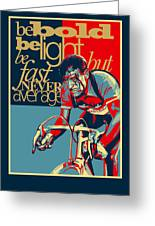 Hard As Nails Vintage Cycling Poster Greeting Card by Sassan Filsoof