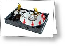 Hard Drive Repair Greeting Card by Olivier Le Queinec