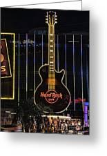 Hard Rock Cafe Greeting Card by Peter Dang