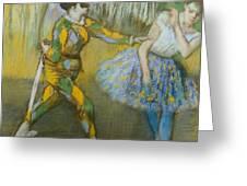 Harlequin And Columbine Greeting Card by Edgar Degas