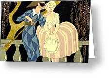 Harlequin's Kiss Greeting Card by Georges Barbier