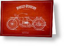 Harley Davidson Motorcycle Patent Drawing From 1919 Greeting Card by Aged Pixel