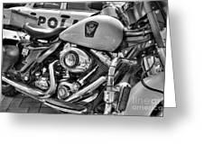 Harleys In Cincinnati 2 Bw Greeting Card by Mel Steinhauer