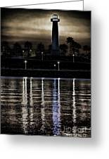 Haunted Lighthouse Greeting Card by Mariola Bitner