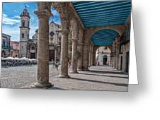 Havana Cathedral And Porches. Cuba Greeting Card by Juan Carlos Ferro Duque