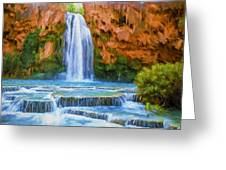 Havasu Falls Greeting Card by David Wagner