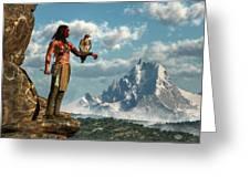 Hawk Warrior Greeting Card by Daniel Eskridge