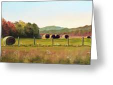 Hay Bales In The Cove Greeting Card by Joan Swanson