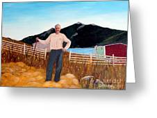 Haymaker With Pitchfork Greeting Card by Barbara Griffin