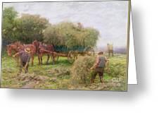 Haymaking Greeting Card by Arthur Hopkins