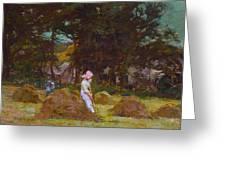 Haymaking Greeting Card by Elizabeth Adela Stanhope Forbes