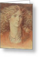 Head Of A Woman Called Ruth Herbert Greeting Card by Dante Charles Gabriel Rossetti