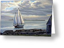 Heading Out-close Hauled Greeting Card by Paul Krapf