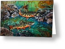 Heading Upstream Greeting Card by Sue Duda