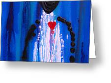 Heart and Soul - Angel Art Blue Painting Greeting Card by Sharon Cummings