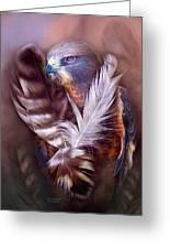 Heart Of A Hawk Greeting Card by Carol Cavalaris