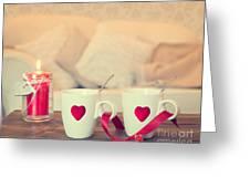 Heart Teacups Greeting Card by Amanda Elwell