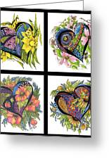 Hearts Embraced By Spring Flowers Greeting Card by Meldra Driscoll