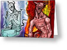 Heaven And Hell - New School Tattoo Art Greeting Card by Gregory Dyer