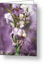 Heirloom Iris In Iris Vase Greeting Card by Carol Cavalaris