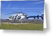 Helicopter On A Mountain Greeting Card by Susan Leggett