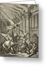 Heliodorus Punished In The Temple Greeting Card by Antique Engravings